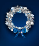 Silver Christmas Wreath Stock Photos