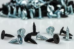 Silver chrom and black anodized screws. On white background Stock Photo