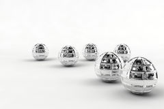 Silver chrome balls. Several shiny silver chrome ball royalty free stock image