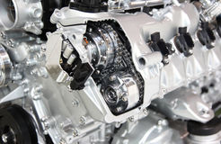 Silver chrome engine Royalty Free Stock Photography