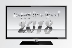 2018 silver chrome numbers design ont tv screen. Happy New Year TV Banner with 2018 Numbers on Gray Background. Vector. Illustration Stock Image