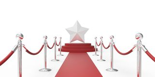 Silver chrome star on red carpet VIP way chrome silver fence on white gray background Royalty Free Stock Photography
