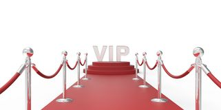 Silver chrome VIP text on red carpet VIP way silver chrome fence on white gray background Royalty Free Stock Photography