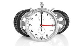 Silver chronometer with aluminium alloy rims Stock Photography