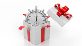 Silver chronometer in a gift box red ribbon Stock Photo