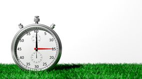 Silver chronometer on green grass. Isolated on white stock illustration