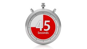 Silver chronometer set on 45 seconds. On white Royalty Free Stock Photo