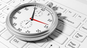 Silver chronometer white laptop Stock Photos