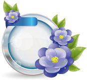 Silver circle frame with violet flowers Stock Photos