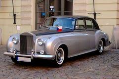 Silver classic car Stock Photos