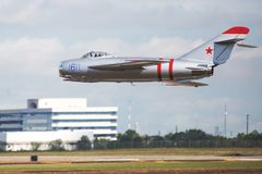 A Silver Classic Mig-17 Jet royalty free stock image