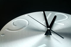 Silver clock on a  black background Royalty Free Stock Photography