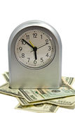 Silver Clock/Money/Time Concept Royalty Free Stock Photos
