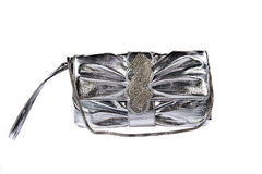 Silver clutch handbag Stock Image