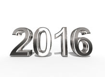 2016 In Silver Coating isolated on a white background Stock Photography