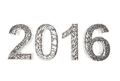 2016 In Silver Coating  on a white background. The year of gold Royalty Free Stock Image
