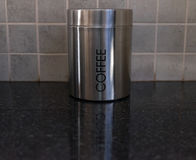 Silver Coffee Container on kitchen counter Stock Images