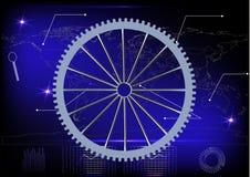 Silver cogwheel on a blue Stock Photos