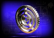 Silver cogwheel on a blue Royalty Free Stock Images