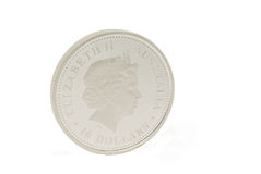 Silver coin. Australian silver collection coin isolated on white Stock Photo