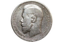 Silver coin 1893 year Royalty Free Stock Photo