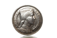 Silver coin 1929 year. On a white background stock images