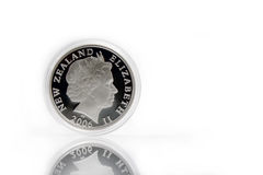 Silver coin. New Zealand jubilee silver coin with queen image royalty free stock photography