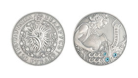 Silver coin Astrological sign Aquarius stock images