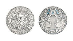 Silver coin Astrological sign Gemini. Silver coin 20 Belarus rubles Astrological sign Gemini stock image