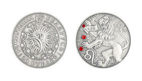 Silver coin Astrological sign Leo Stock Photo