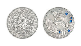 Silver coin Astrological sign Pisces. Silver coin 20 Belarus rubles Astrological sign Pisces royalty free stock image