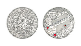 Silver coin Astrological sign Sagittarius Stock Images