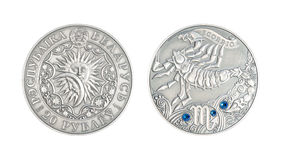 Silver coin Astrological sign Scorpio. Silver coin 20 Belarus rubles Astrological sign Scorpio royalty free stock photography