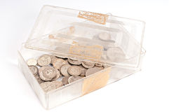 Silver coin box Stock Photography