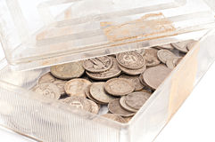Silver coin box Stock Images