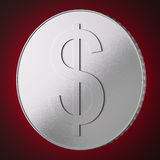 Silver coin with dollar sign Royalty Free Stock Photo