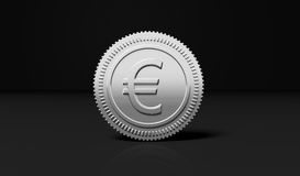 Silver coin with Euro symbol. Isolated on black background Stock Photo