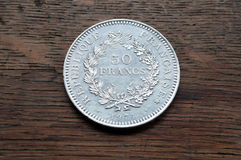Silver coin of 50 francs Royalty Free Stock Image