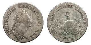 Silver coin germany prussia 1 taler Friedrich 1786. Silver coin germany prussia 1 taler 1786, front Friedrich, reverse eagle with chrown stock image