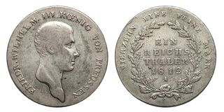 Silver coin germany prussia 1 taler Friedrich 1812 german empire. Silver coin germany prussia 1 taler Friedrich 1812 royalty free stock photos