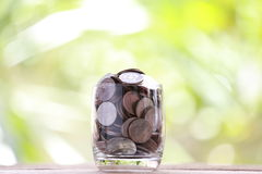 Silver coin in glass is placed on a wood floor with colorful bok Royalty Free Stock Image