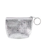 Silver coin purse with zip isolated on white Stock Images