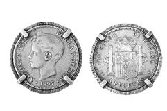 Silver coin spain. Old Spanish silver coin 1897 Royalty Free Stock Images