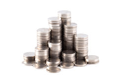Silver coin stack Stock Image