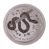 Silver coin Year of the snake Stock Photo