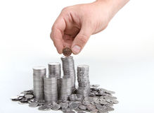 Silver coins. Are staying in the piles Royalty Free Stock Photo