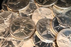 Silver coins background Royalty Free Stock Photo