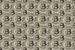 Silver coins Bitcoin across the surface of the image. A large number of silver coins Bitcoin across the surface of the image Stock Image