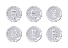 Silver coins different currency. Six symbols with dollar, euro, yen, ruble, pound, bitcoin sign in cartoon style for business, finance, exchange money theme Royalty Free Stock Photography