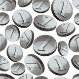 Silver coins falling seamless background. Stock Photos